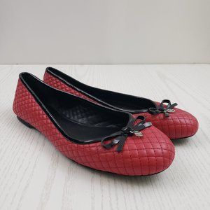 Michael Kors Melody Red Leather Ballet Flats 10M